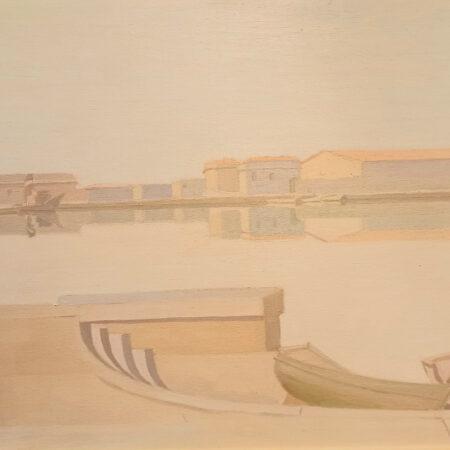 Opera di Mario Benedetti, intitolata Porto di Livorno, tecnica olio su tela, dimensioni cm 50x70, con cornice.
