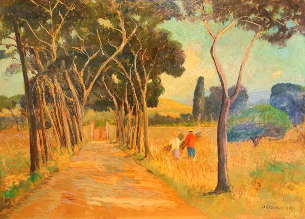 Opera di Nello Giovannelli, intitolata Paesaggio 1980, tecnica olio su cartone pressato, dimensioni cm 50x70, con cornice.