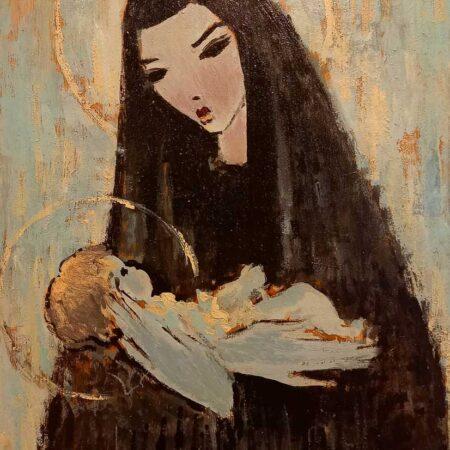 Opera di Voltolino Fontani, intitolata Madonna con bambino, tecnica olio su tavola, dimensioni cm 35x25, con cornice.